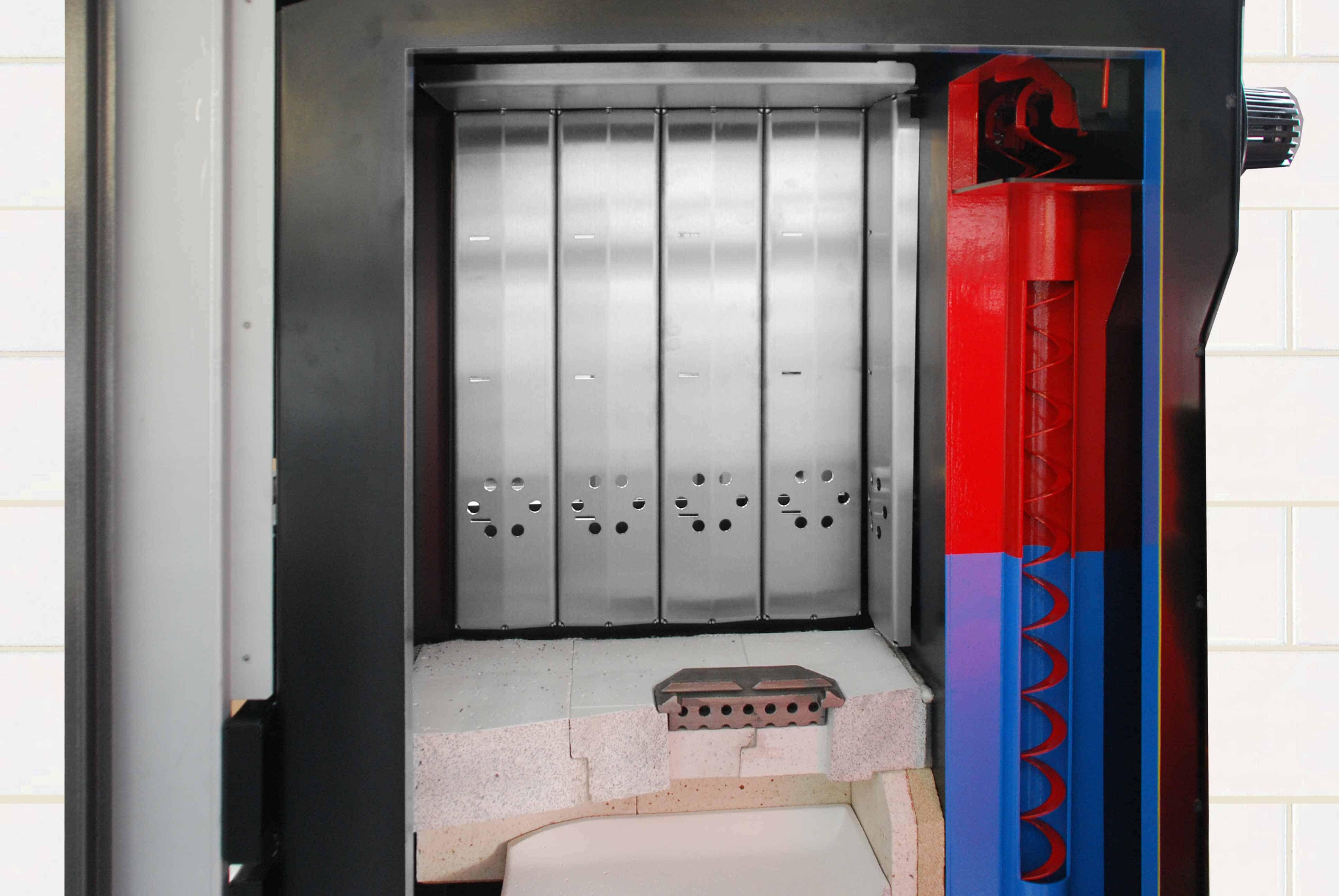 nerezové panely v odhořívací komoře